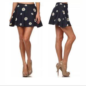 36.5 Skirts - Daisy denim floral skater skirt